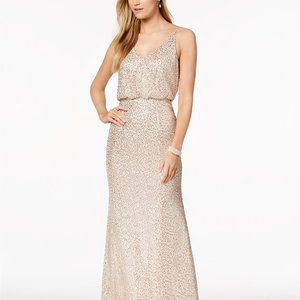 Women Adrianna Papell Sequined Blouson Gown Nude